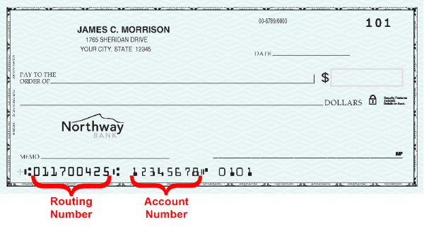 Personal check image showing where to find the routing and account number.