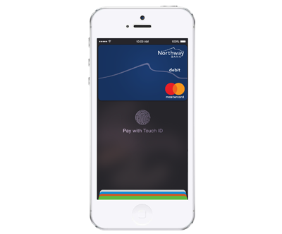 iPhone image with Apple Pay screen showing.