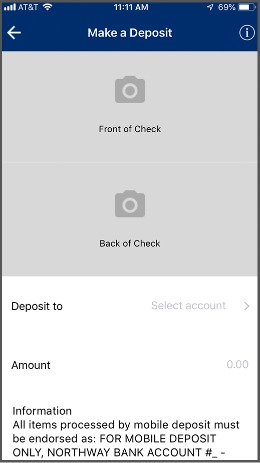 Mobile Deposit screen shot