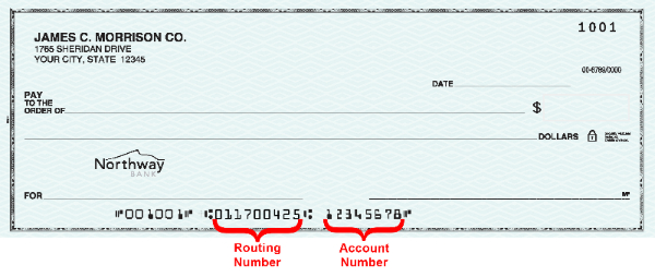 Picture of a business check showing where to find the routing and account number.