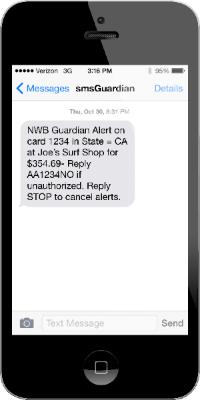 Image of iPhone with smsGuardian alert