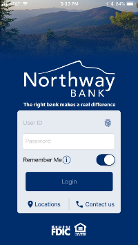 Screenshot of Mobile Banking App Login