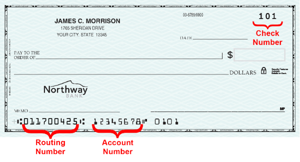 Image of Personal check showing routing and account numbers